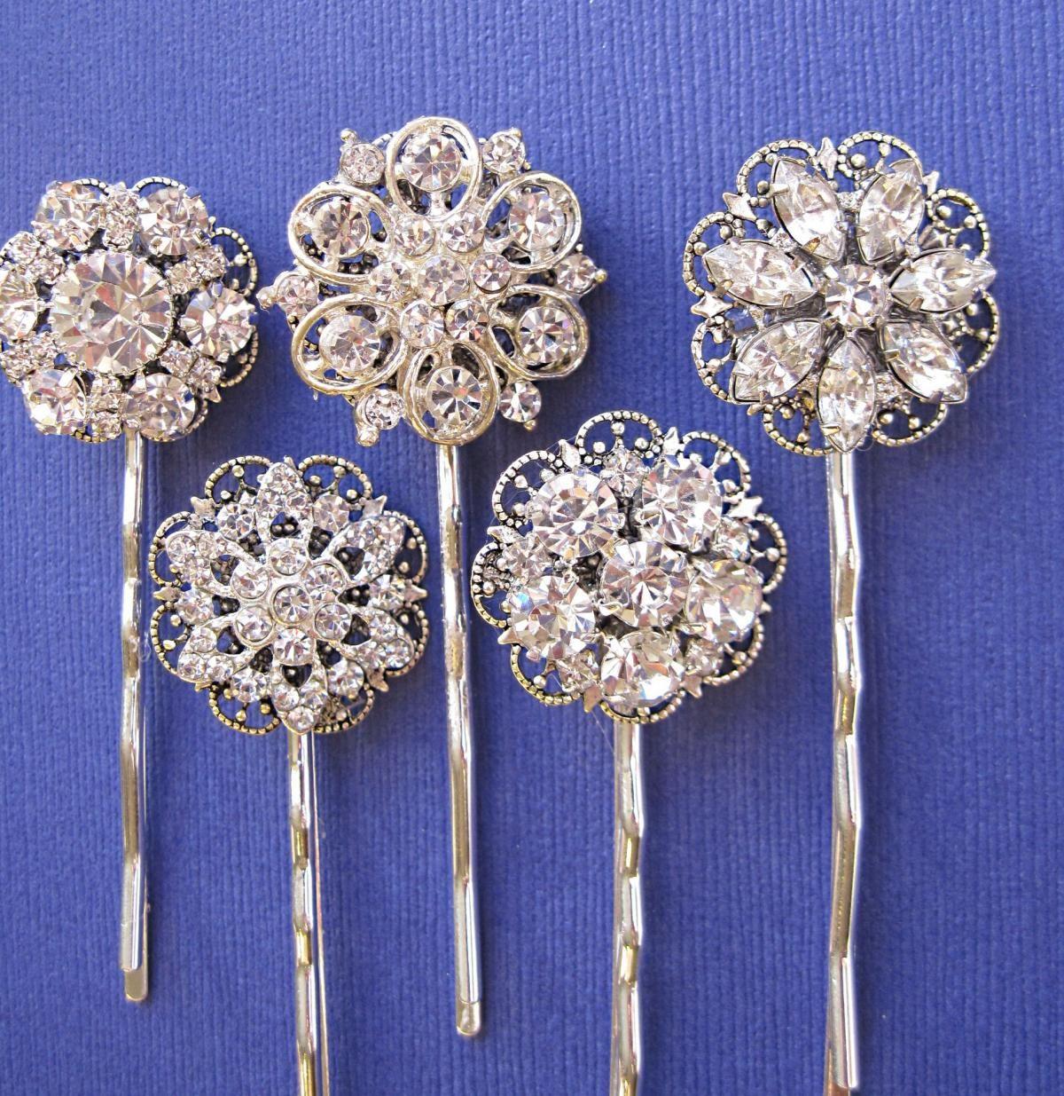 wedding accessories, hair pins, 5 hair pins, rhinestone