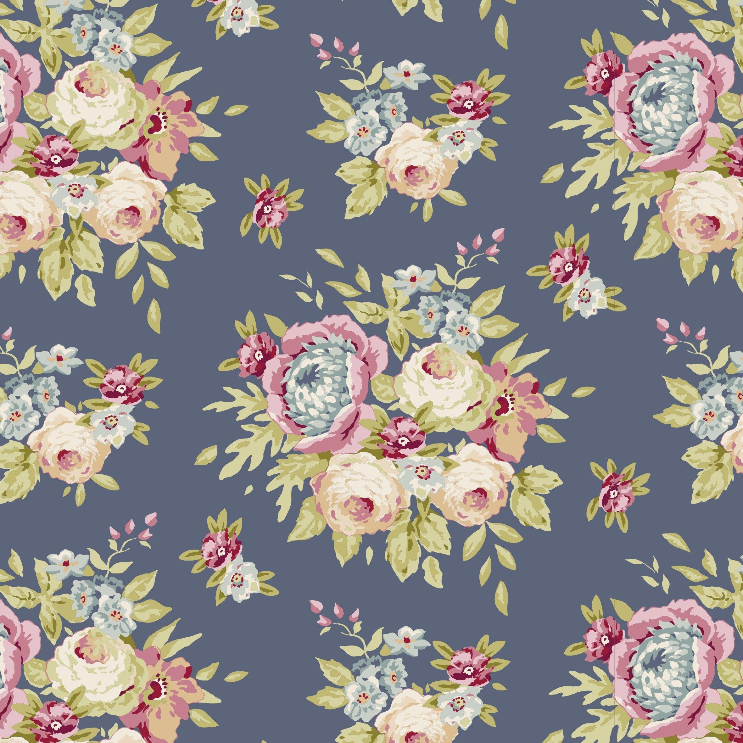 Tilda Pardon My Garden Fat Quarter Garden Flowers Dark Blue