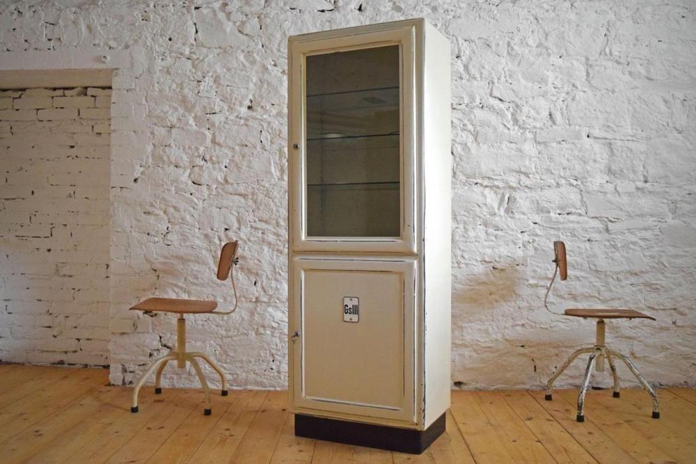 Arztschrank Alt Antik Metall Apothekerschrank Art Deco Shabby Weiß Vitrine  Loft   EBay