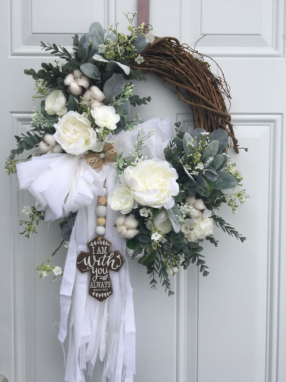 Photo of Farmhouse Wreath, Rustic Wreath, Rag Bow Wreath, Lamb Ear Wreath, Cotton Wreath, Eucalyptus Wreath, Farmhouse Decor, Cross Wreath, Chabby Chic