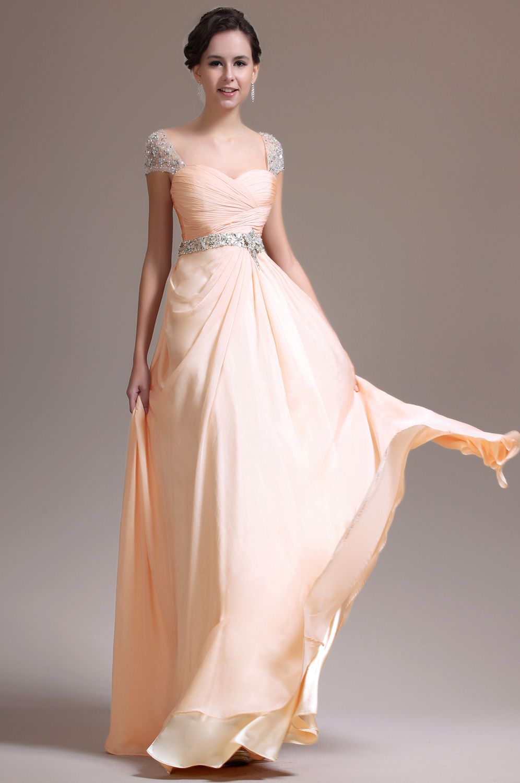 Beige Beaded Cap Sleeves Prom Dress Evening Dress (12) (mit