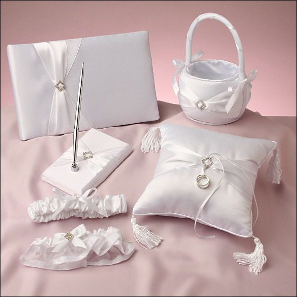 Perfect day collection white matching wedding accessory sets matching wedding reception accessories add that special touch to the overall feeling of your reception and are available in many designs junglespirit Images