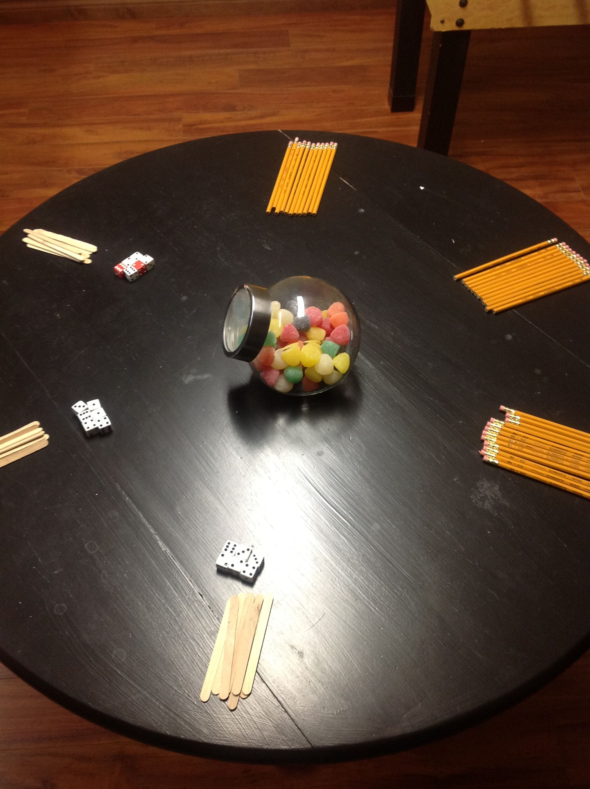 Balancing dice and catching pencils were another two games