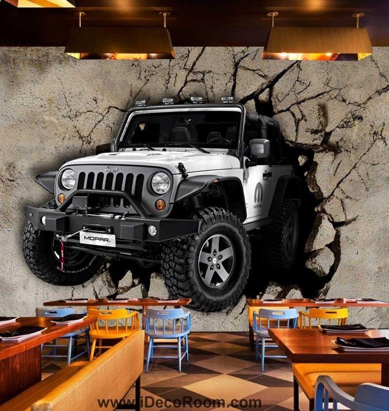 Grauer Jeep Braking Cement Wand Kunst Wandtapeten Decals Drucke