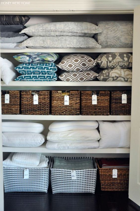 Organized Linen Closet Organizing Blanket And Pillows