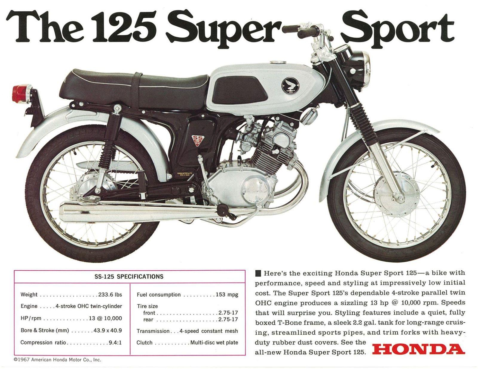 Honda Brochure Ss125 Cb125 Twin 1960s Repro Sales Catalog Ebay Honda Vintage Honda Motorcycles Honda Bikes