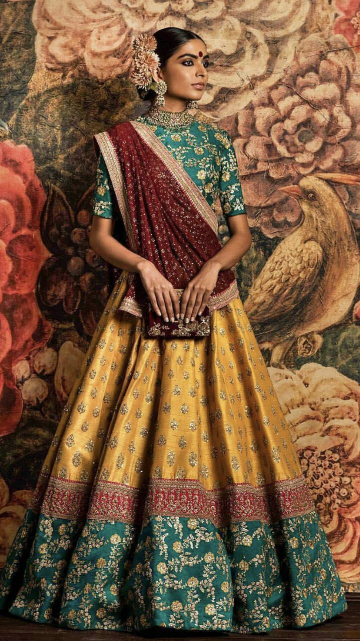 Sabyasachi Silk lehenga, Bridal lehenga choli, Yellow