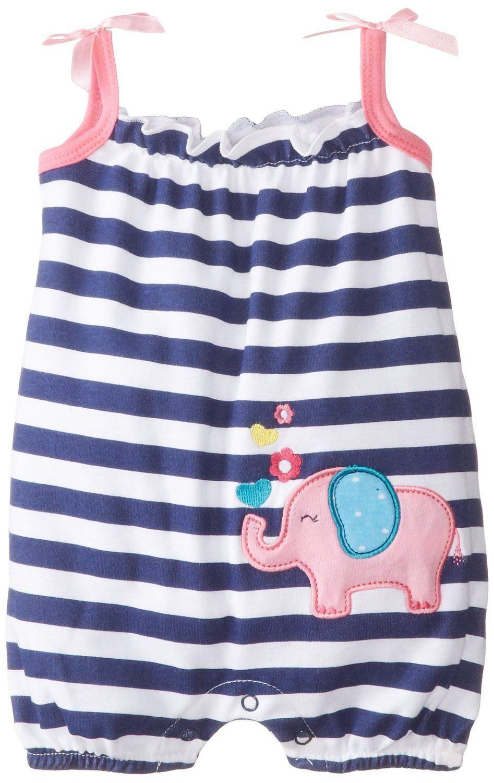eca748c88207 Amazon.com  Peanut Buttons Baby-Girls Newborn Girl Elephant Romper  Clothing