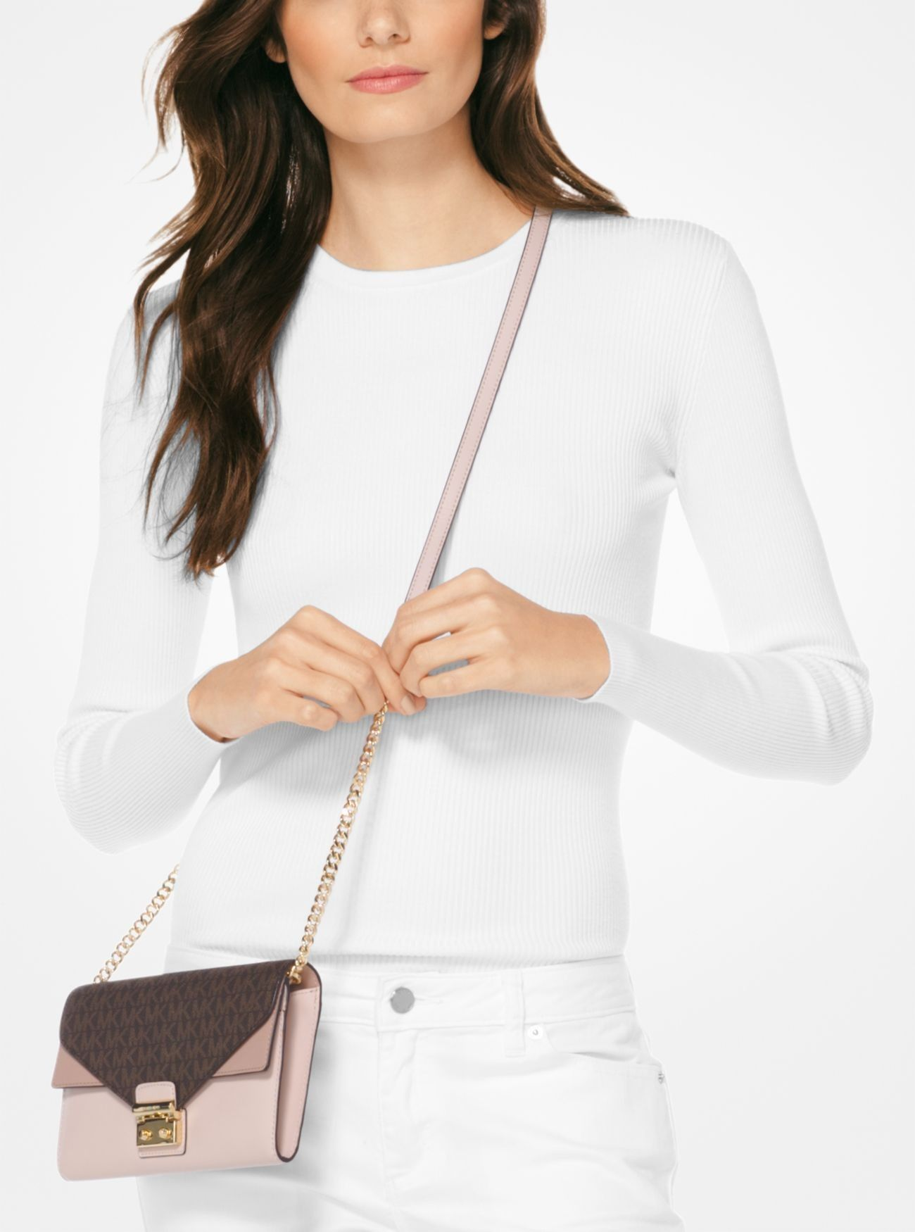d1ddb4d838e Price Michael Kors Brn Sfpk Fwn Sloan Logo and Leather Chain Wallet Outlet