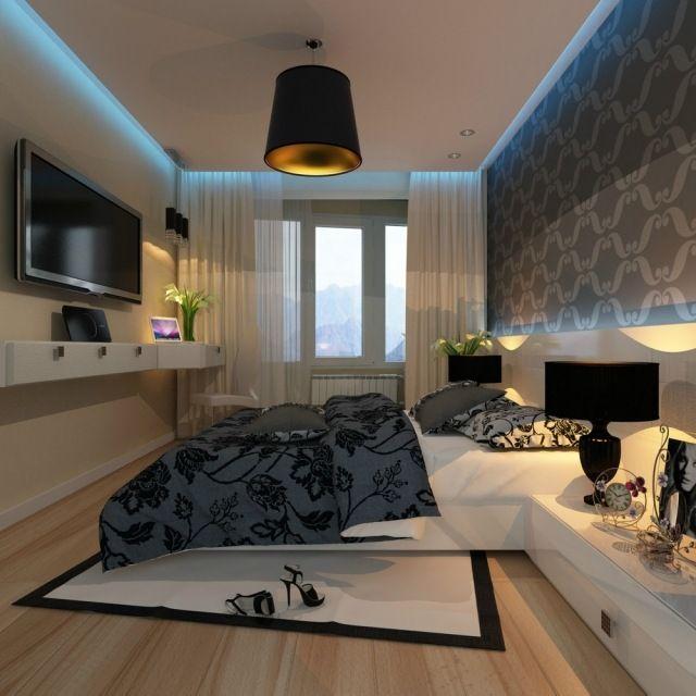 kleines schlafzimmer wand dekorieren tapete weiß grau blaue led ...