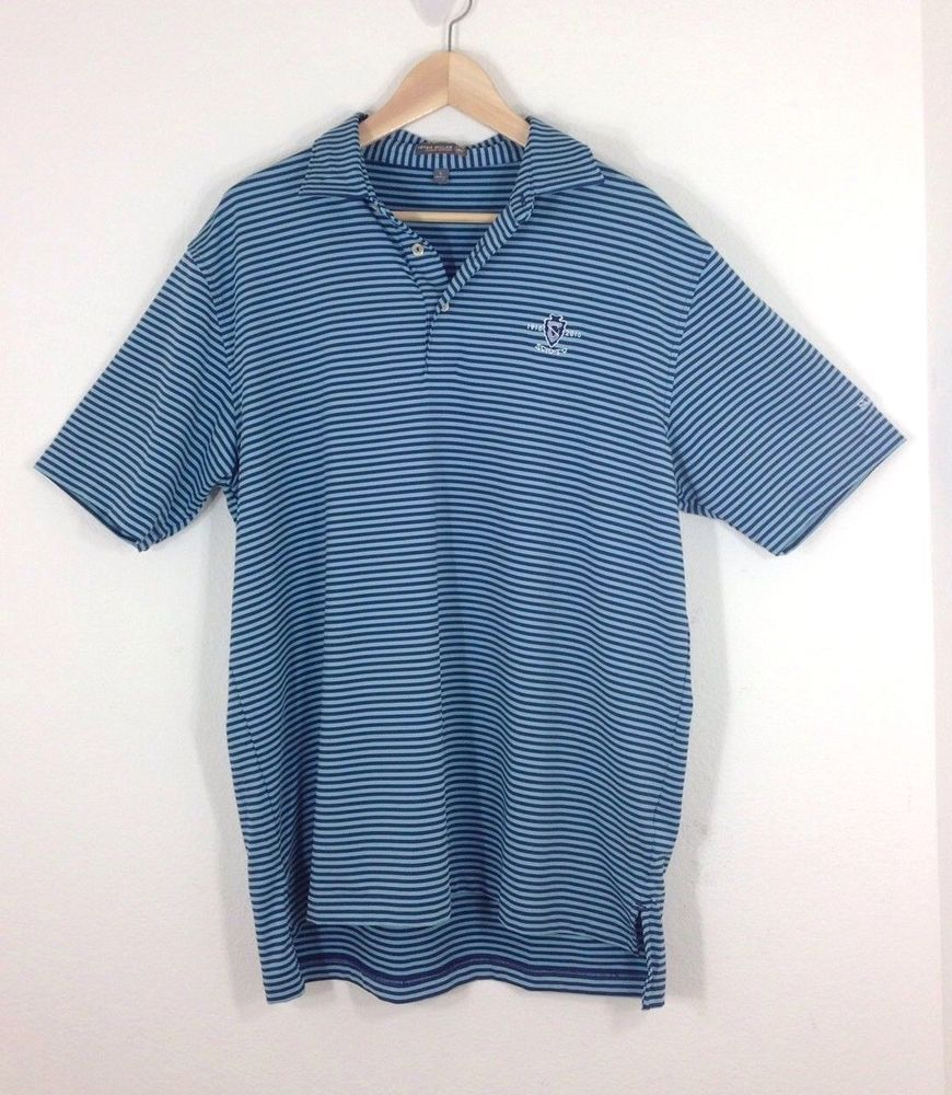 8e46c6e26fda PETER MILLAR Summer Comfort Men Size Large Golf Polo Shirt Blue Stripe  Scioto    PeterMillar