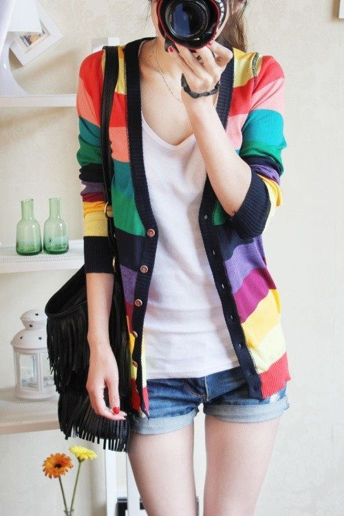 Colorful Stripe Autumn Deep V-neck Knit Sweater