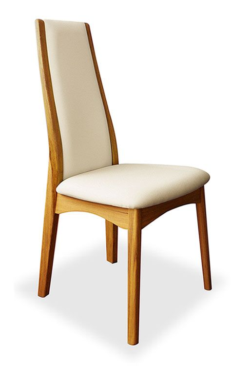 Cool Upholstered Teak Dining Chair Zen White