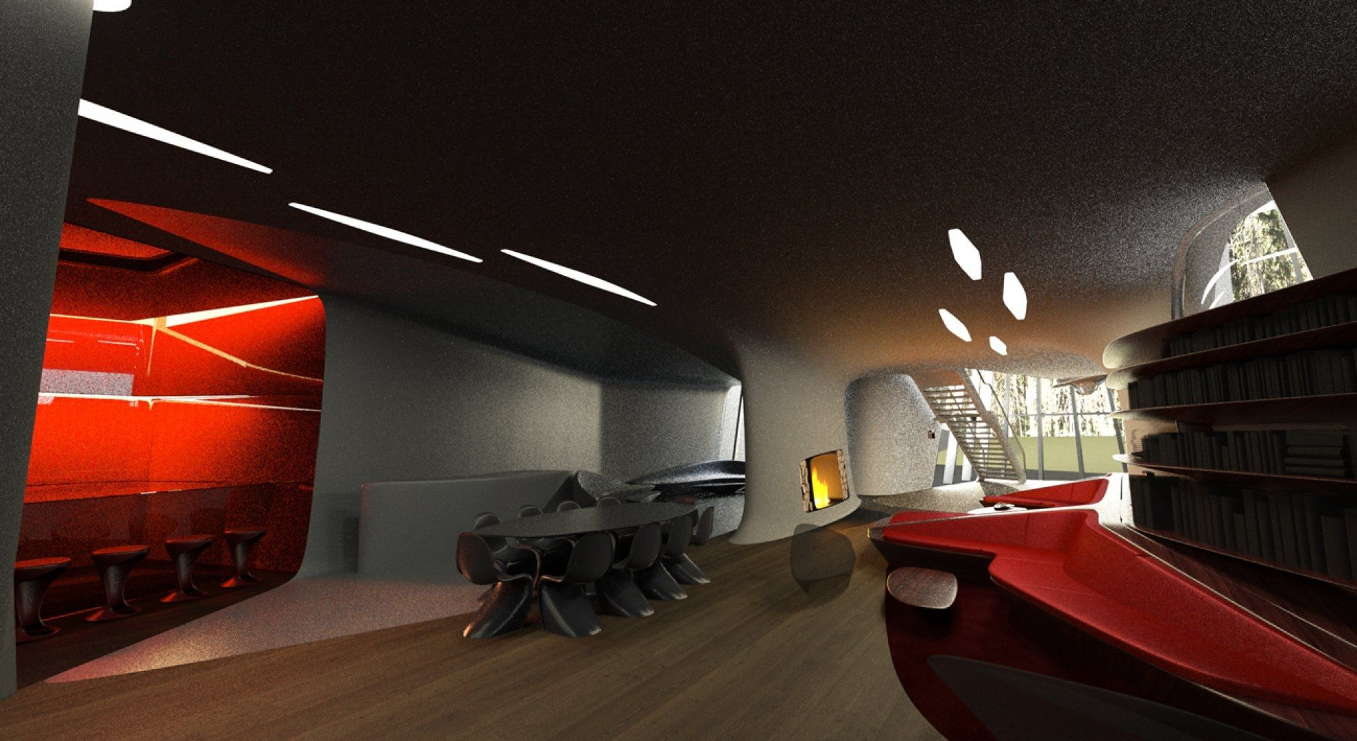 Sophisticated space age interior | Pop art apartment interior ...