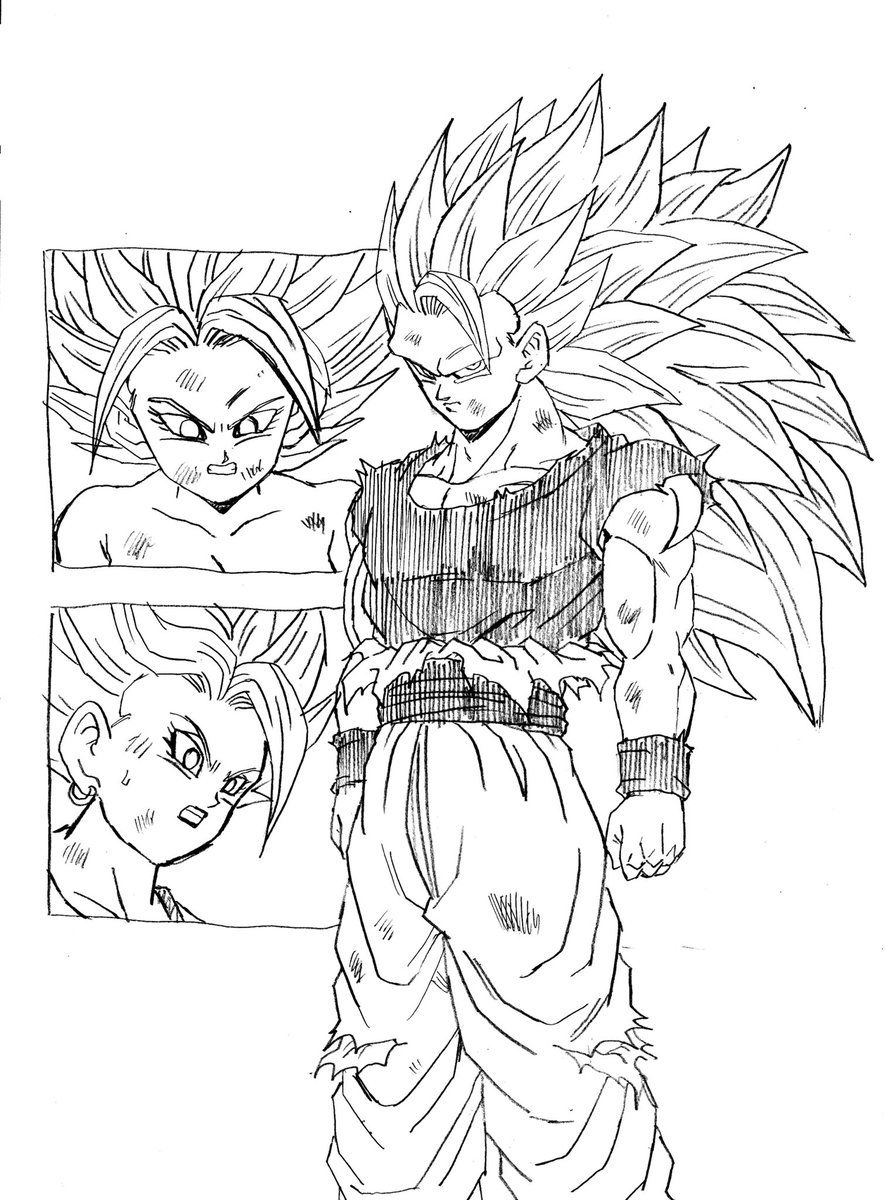 This is Super Saiyan 3!: Caulifla SSJ2 and LSSJ Kale vs Goku ...