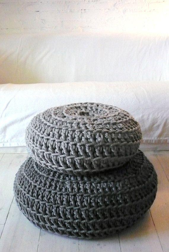 Floor Cushion Crochet Thick Cotton Medium Grey By Lacasadecoto
