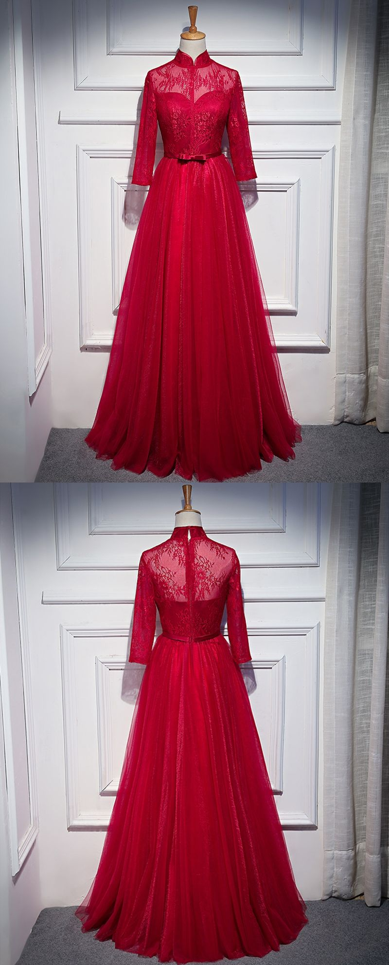 Wine red small high neck a line illusion long evening dresses