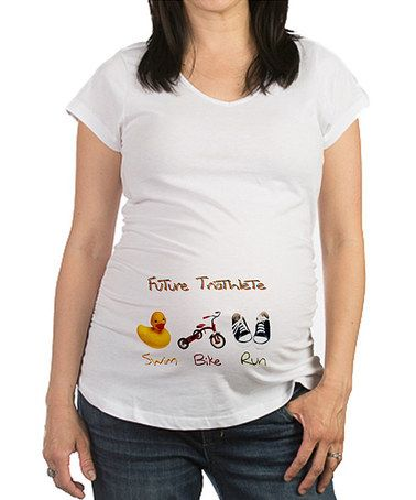 087eb87a White 'Future Triathlete' Ruched Maternity Tee by CafePress #zulilyfinds