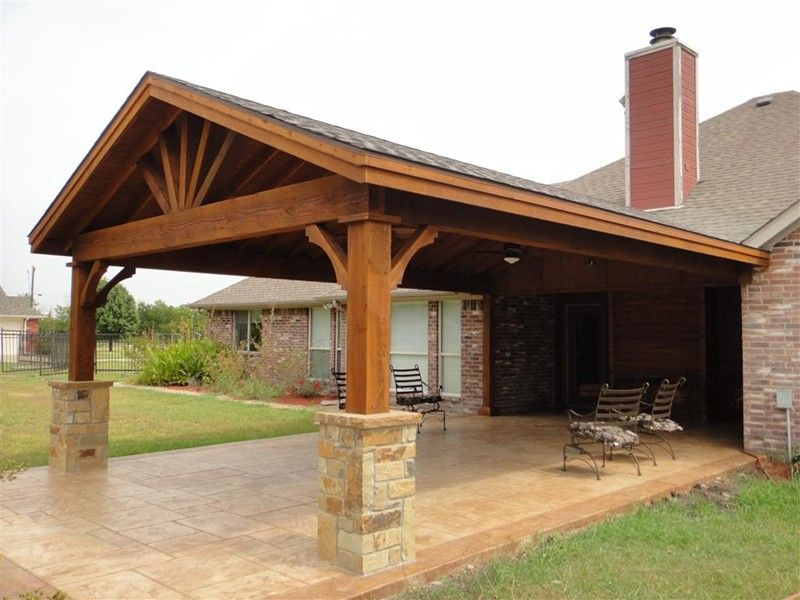 Para el driveway de la cochera full gable patio covers for Porch roof plans