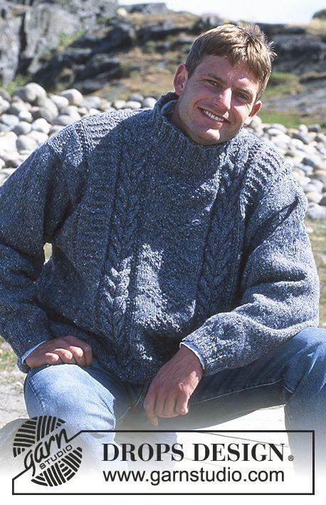 "DROPS ladies or men\'s jumper with cable pattern in ""Alaska-Tweed ..."