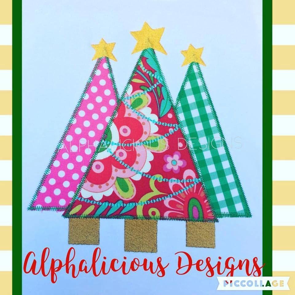 Christmas Tree Trio Applique Design Christmas Applique Etsy Christmas Applique Applique Designs Christmas Designs