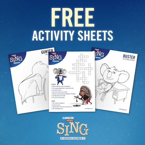 Free printable SING activity sheets. There are coloring pages ...
