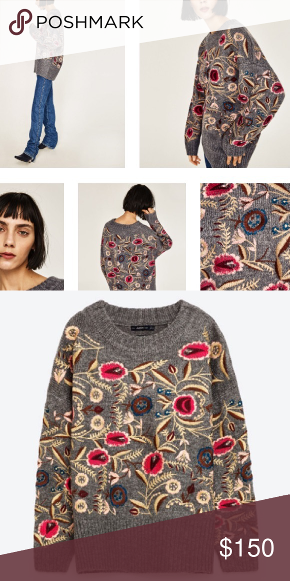 ZARA EMBROIDERED SWEATER Brand new with tags, size large, oversized, will fit a large and x large, gray with multicolor floral patterns, bloggers favorite. Price FIRM Zara Sweaters Crew & Scoop Necks