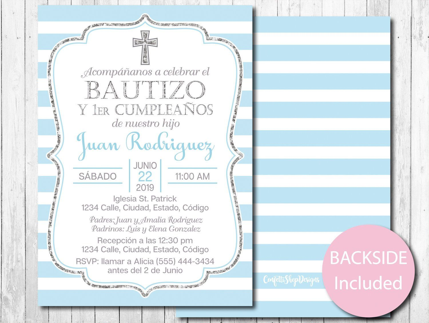 first birthday invitation boy blue