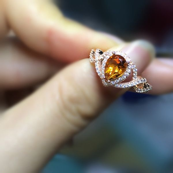 Fashion and Sparkling Rose Gold Citrine Costume Ring 2017Best