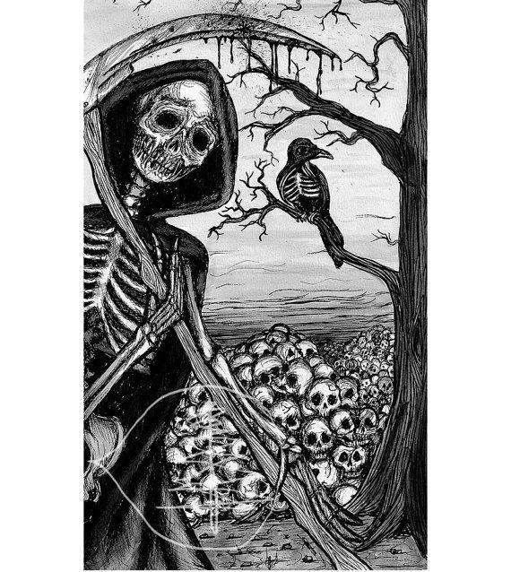Tarot Card Art Print  of The Death Card  8x10 Print  by treetalker, $18.00