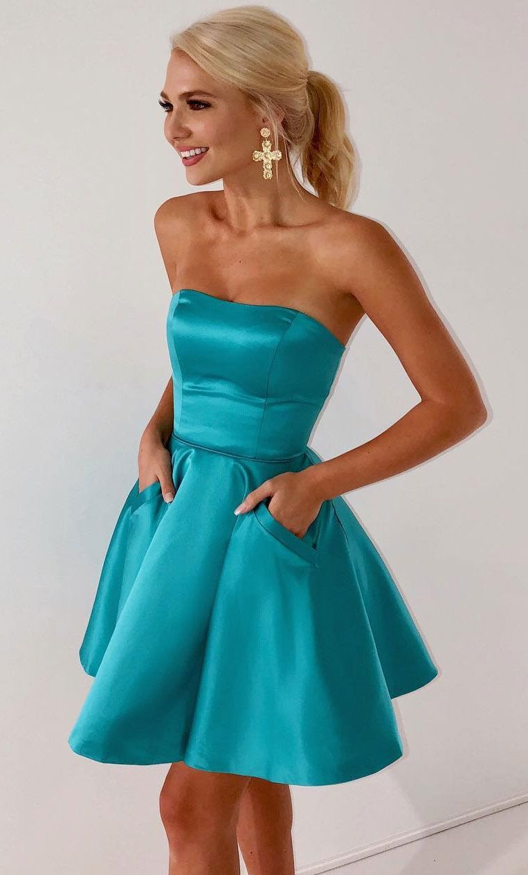 Aline strapless ice blue satin homecoming dress with pockets in