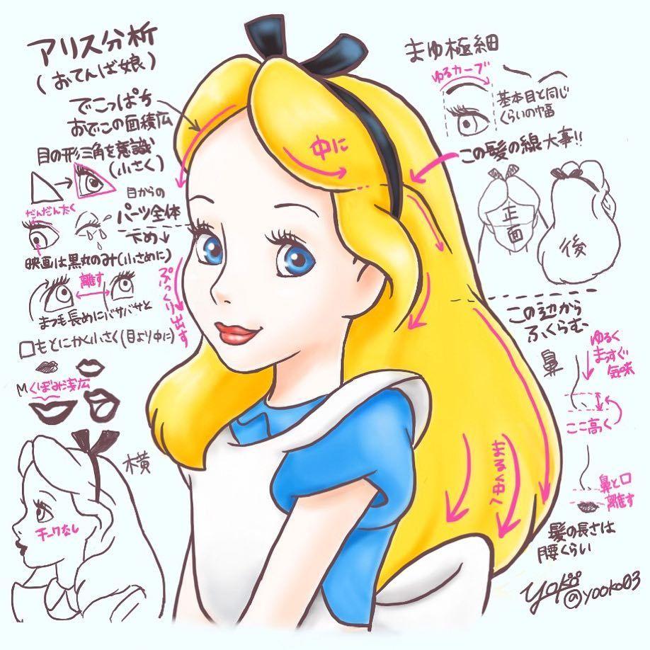今回はアリスの分析しました アリスは顔のパーツが小さかったり離れてたりするのでその位置づけが難しいですね でも描いてみて気づくことが沢山ありました アリスは子供っぽさが大事 子供なのに唇の色っぽさがすごいwww Dis プリンセス イラスト