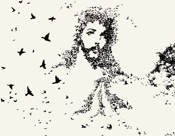 Jesus Wall Art flock of birds jesus art print 11x14contemporaryearthart