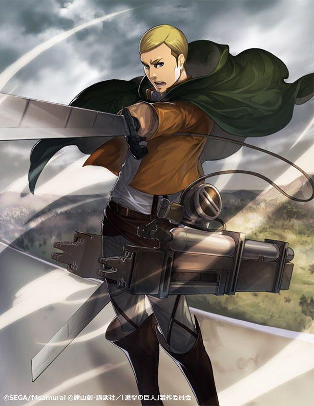 "aurieackerman: "" New Erwin official art from the Hortensia Saga x Shingeki no Kyojin collaboration. """