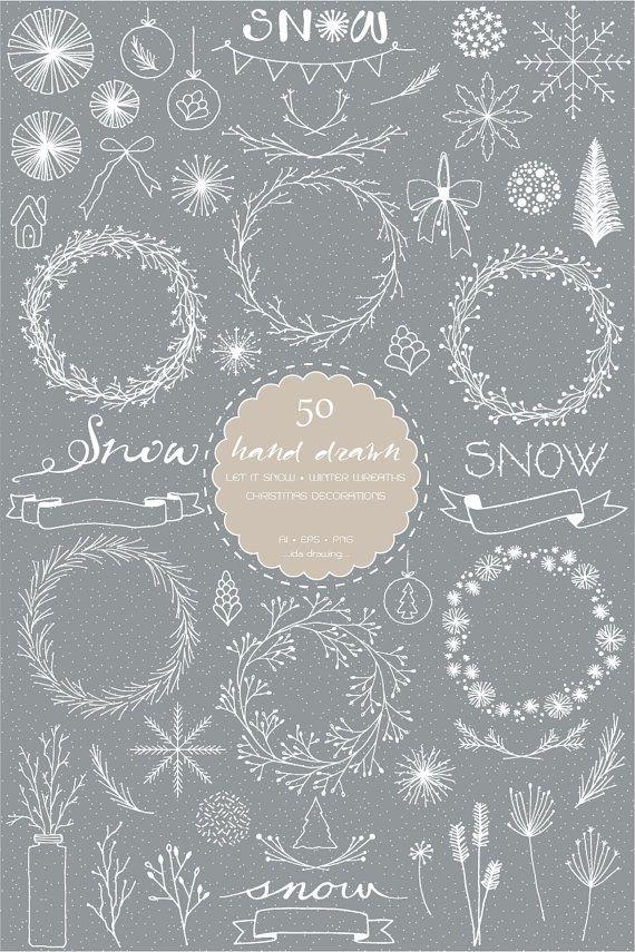 Photo of 50 Hand Drawn Let It Snow Digital Clip Art-Winter Wreaths-Snowflakes-Christmas Wreaths-Christmas Decoration-Christmas Gift-Holiday Clip Art
