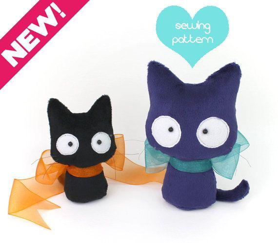 Plush Sewing Pattern Pdf Cat Stuffed Animal Easy Beginner Kitten
