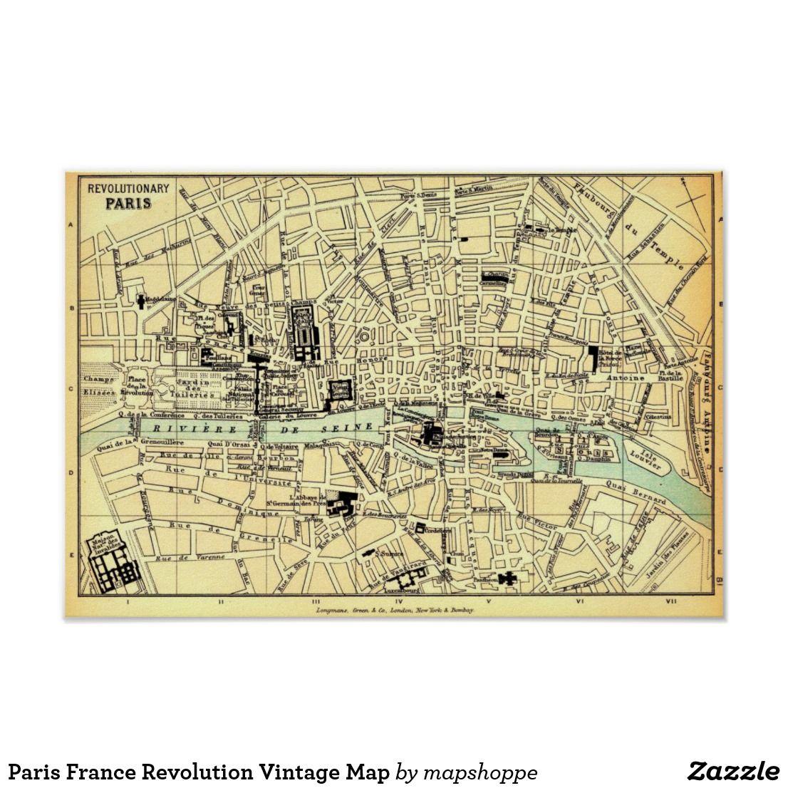 Paris France Revolution Vintage Map Poster | Zazzle.com | Map Poster ...