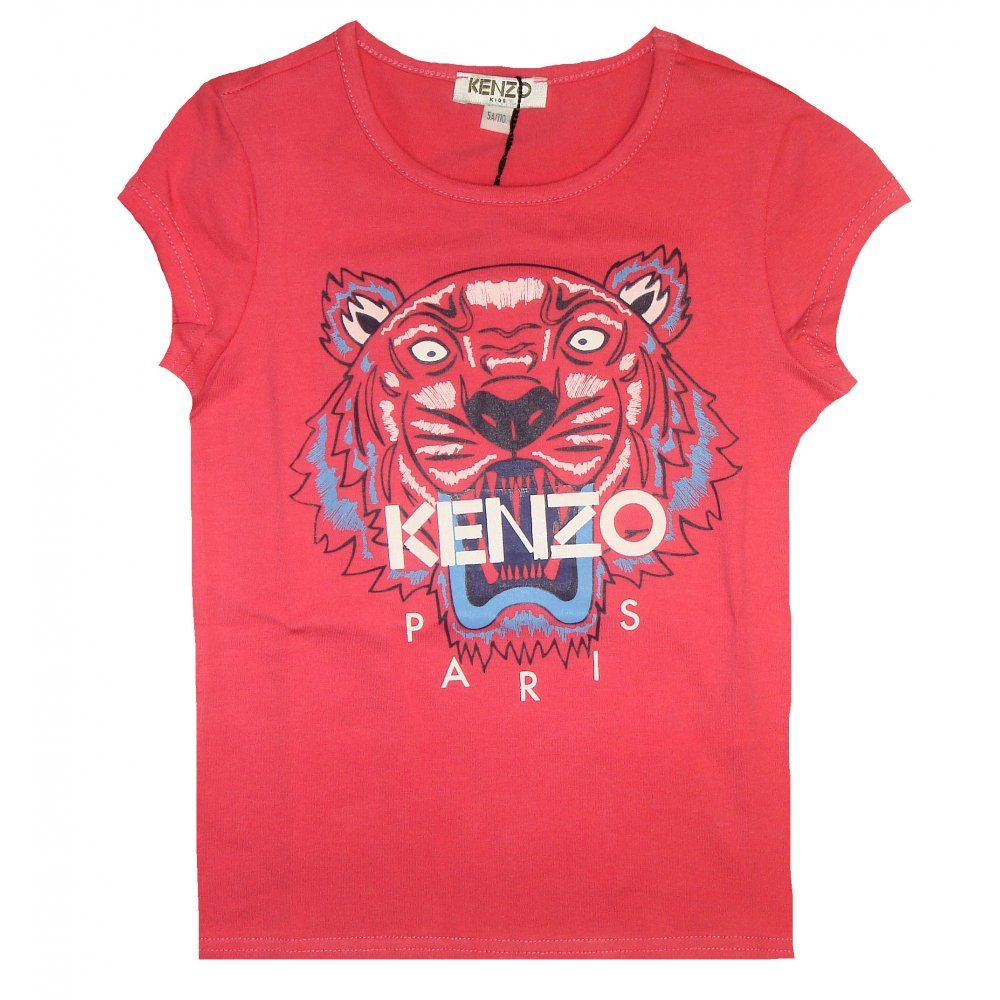 b0427ce38b Kenzo Kids Girls Coral Pink T-Shirt With Tiger Print   Kenzo Kids ...