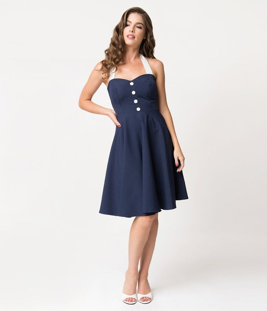 Navy Blue & White Button Halter Swing Dress | Swings, Navy blue and Navy