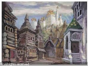 Ludolfs Liberts SET DESIGN FOR AN OLD RUSSIAN VILLAGE sold by Sotheby's, London, on Wednesday, November 19, 2003