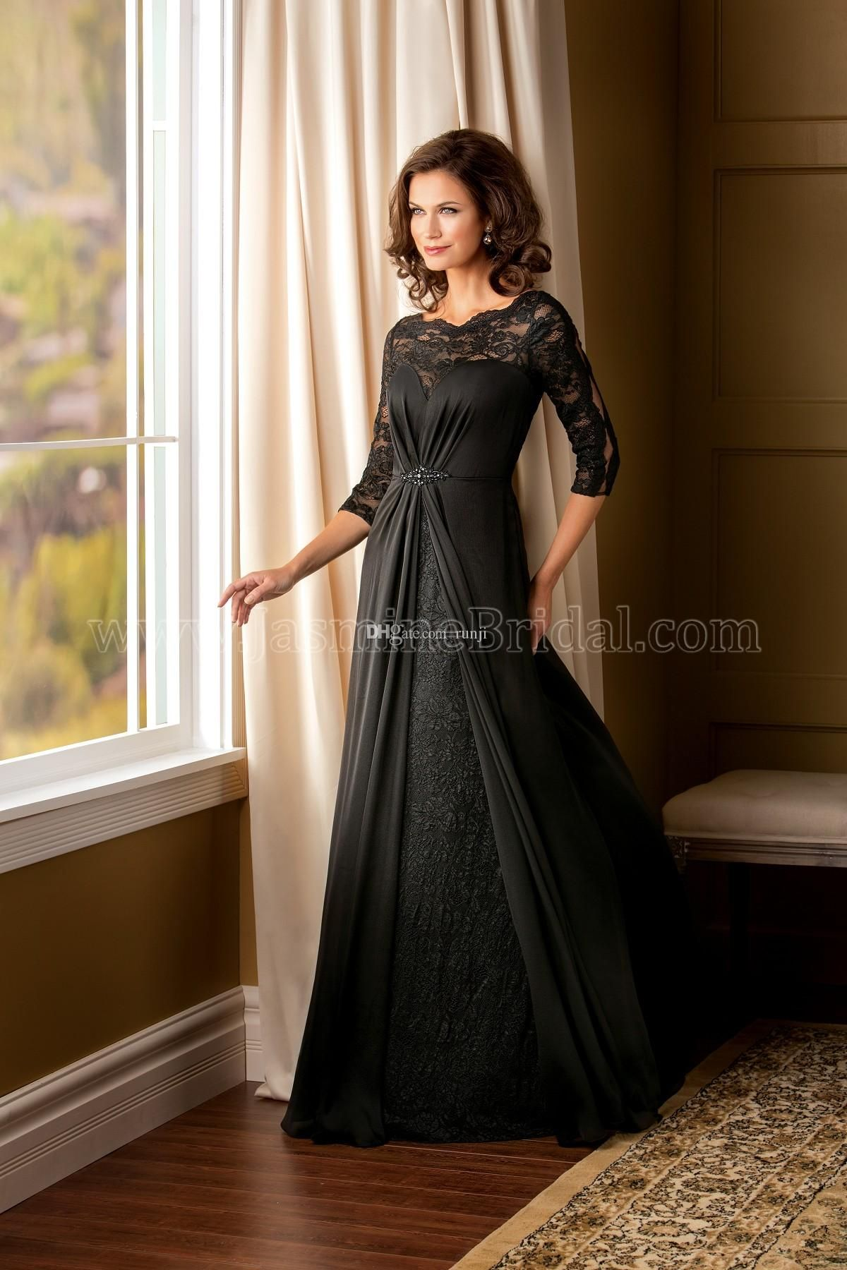 Black long sleeve wedding dresses  Wholesale Sexy Bateau Lace Bride Mother Dresses  Fashion