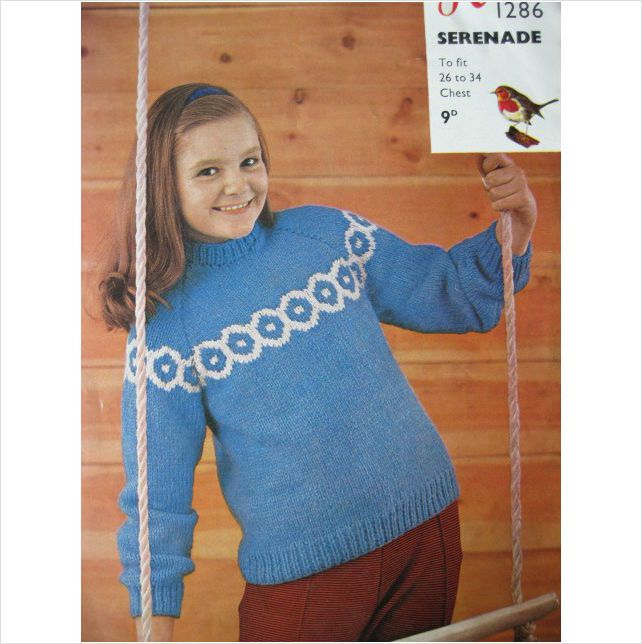Vintage Robin knitting pattern 1286 girls fair isle sweater chest ...