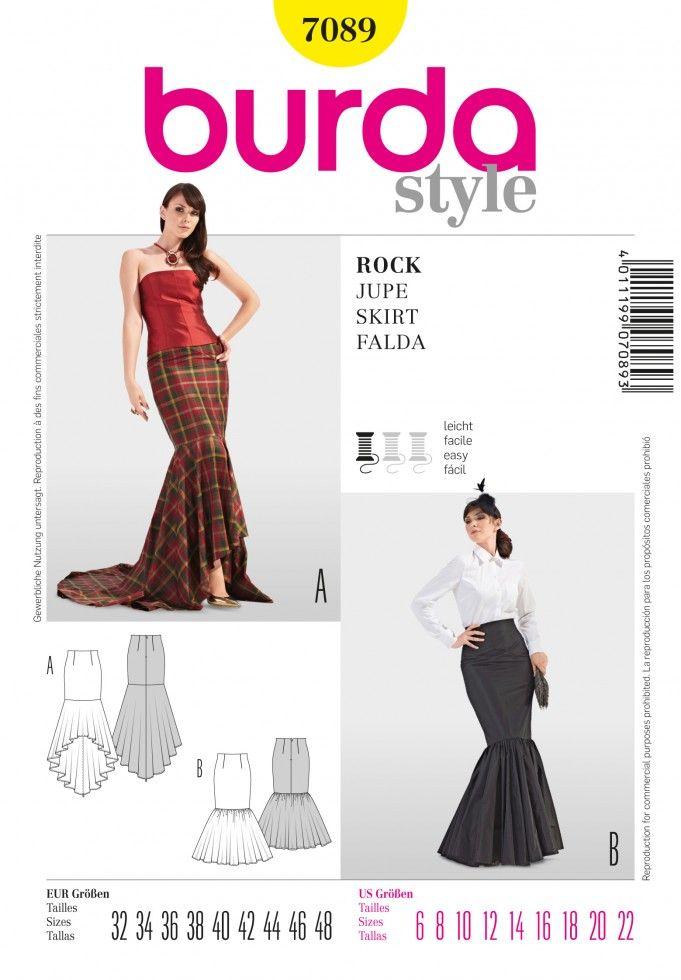 776d8d1fa3d6 Burda Ladies Easy Sewing Pattern 7089 Fishtail Skirts | Sewing | Patterns |  Minerva Crafts