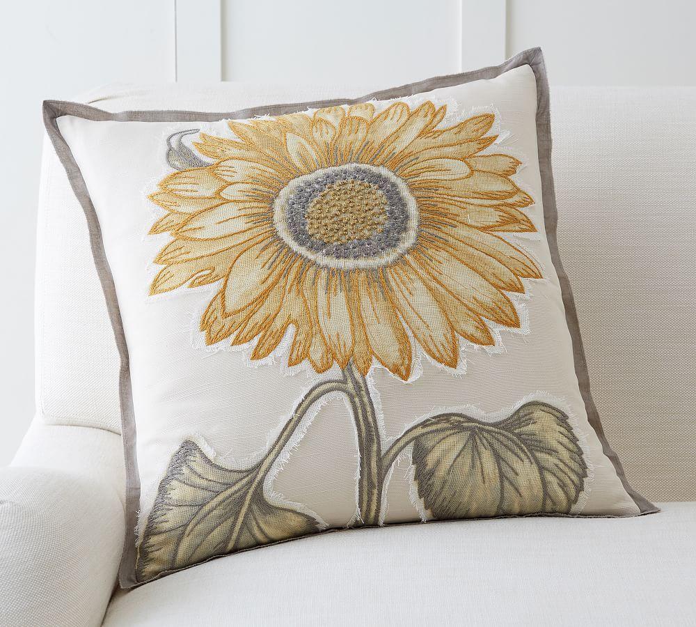 Sunflower Applique Pillow Cover