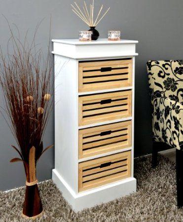 Landhaus Stil Kommode Bad Flur Küchen Regal Schrank Weiß 45 x 103 - küchen regale holz