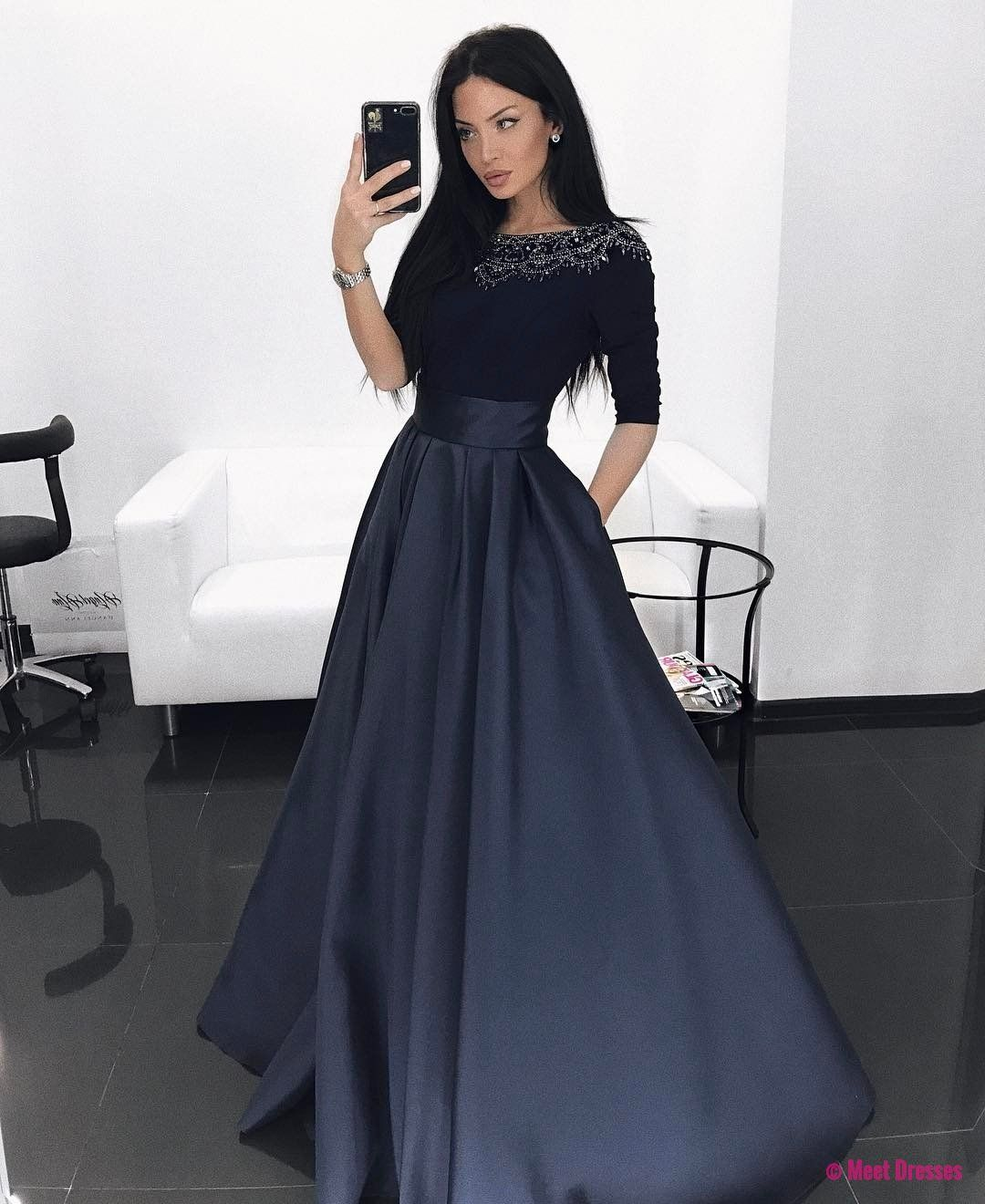 Dark navy blue satin beaded prom dresses long sleeves aline sexy