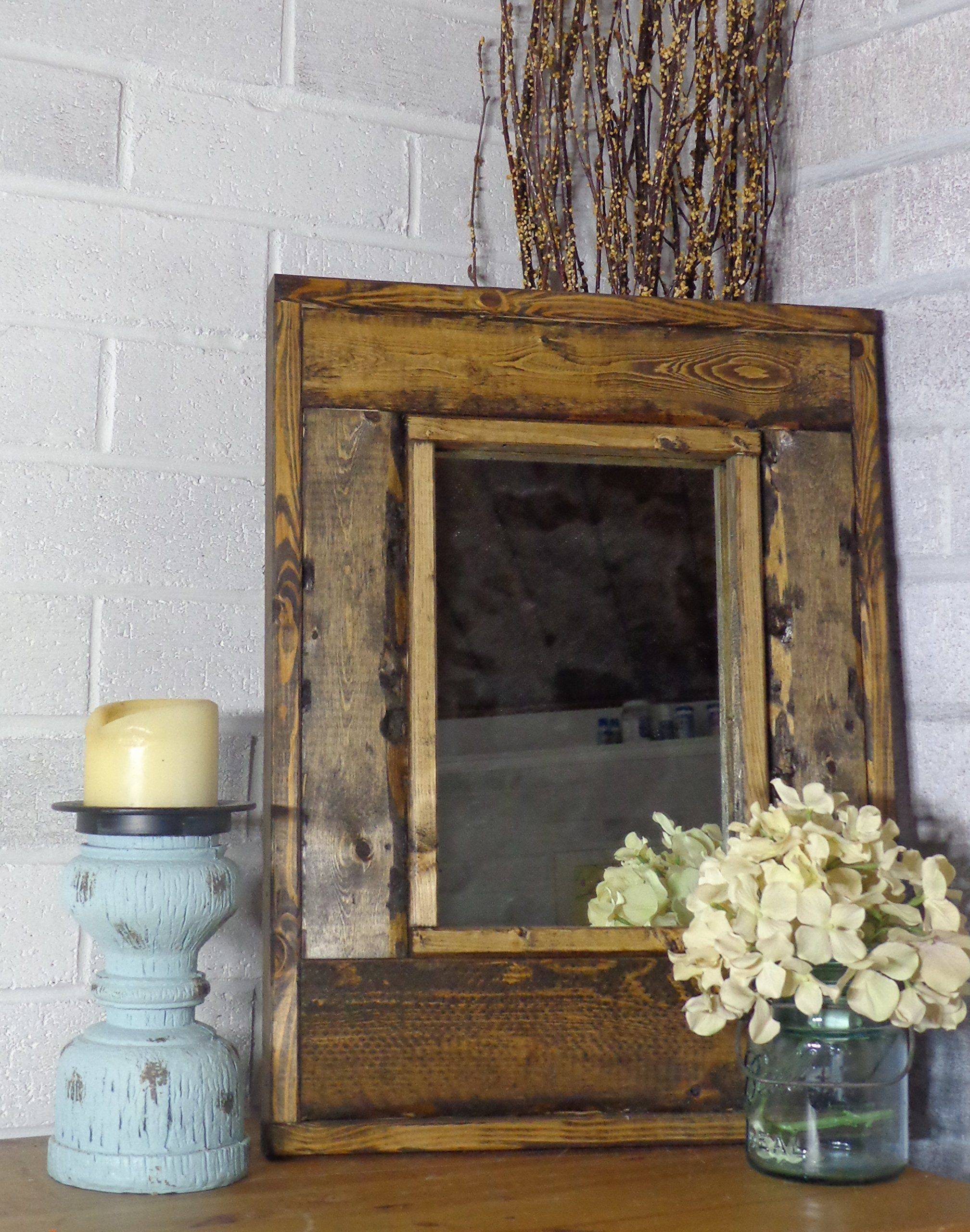 Renewed décor small herringbone reclaimed wood mirror in 20 stain colors large wall mirror rustic modern home home decor mirror housewares