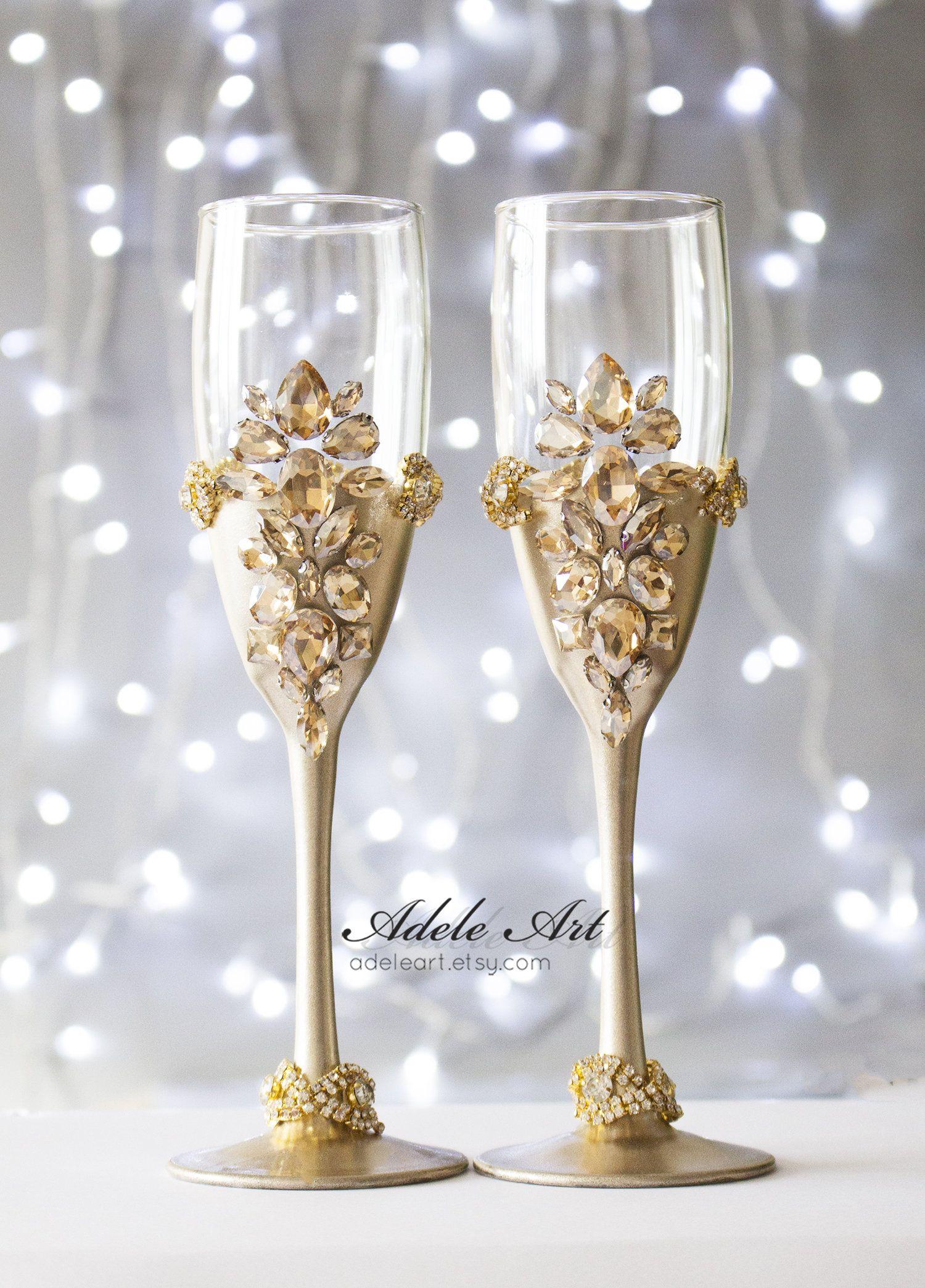 Champagne color Wedding Flutes, Set of 2, Wedding glasses