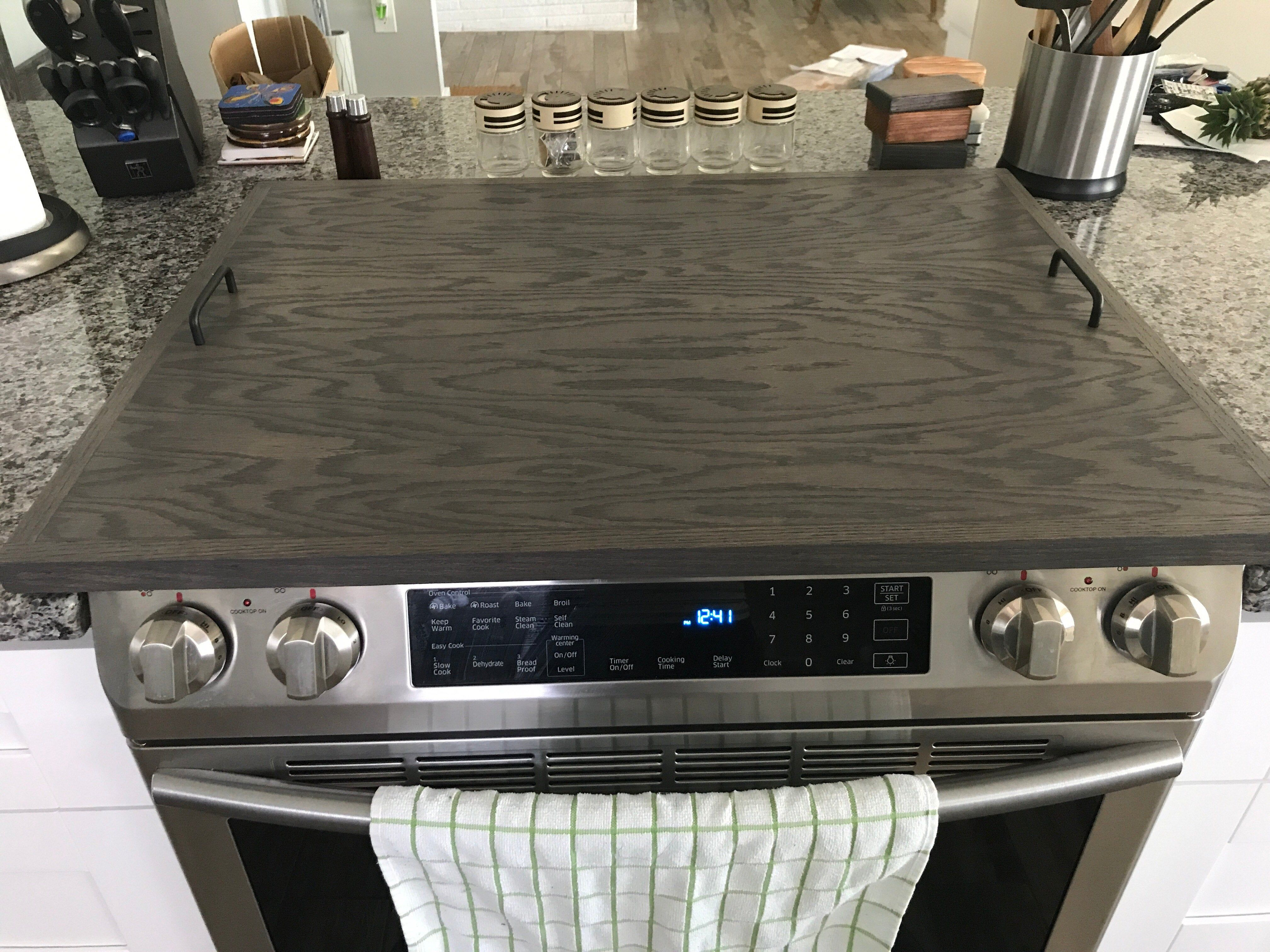 Oak Stove Top Cover In 2020 Stove Top Cover Wooden Stove Top