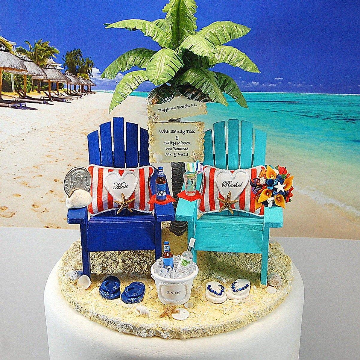Beach wedding cake topper custom color base fits 6 inch